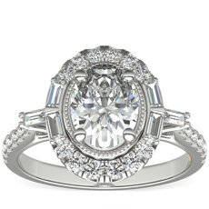 ZAC Zac Posen Vintage Baguette Halo Diamond Engagement Ring in 14k White Gold